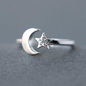 2530dddab1c6 Kinitial estilo bohemio Vintage 925 plata esterlina estrella Luna dedo  anillos Lucky Crescent anillos para mujeres fiesta regalo joyería