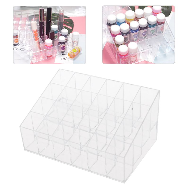 24 Grids Transparent  Acrylic Liquid Pigment Bottles Storage Box Organizers