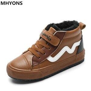 Детские ботинки для мальчиков 2018 осенние высокие ботинки Martin из натуральной кожи для мальчиков резиновые нескользящие зимние ботинки модн...