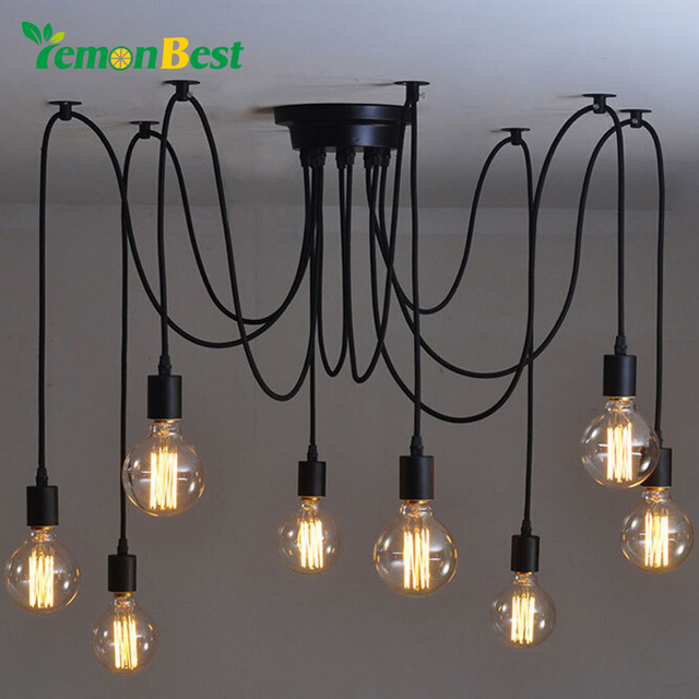 r tro edison ampoule luminaire pendentif lustre vintage loft antique r glable e27 ac110 220v. Black Bedroom Furniture Sets. Home Design Ideas