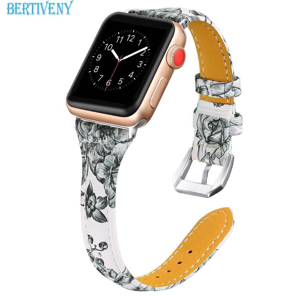 Leather strap band for Apple watch 38mm 42mm 40mm 44mm women sport watchband  Replacement bracelet for iwatch Series 4 3 2 1
