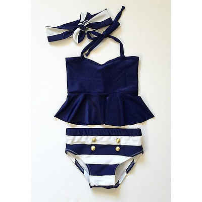 Girl Swimwear 3 Pieces bikini set Navy Tops Striped Swimsuit Swimwear Bathing Clothes baby swimming suit