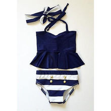 Girl Swimwear 3 Pieces bikini set Navy Tops Striped Swimsuit Swimwear Bathing Clothes baby swimming suit foxluggage f190 navy upright luggage 3 pieces