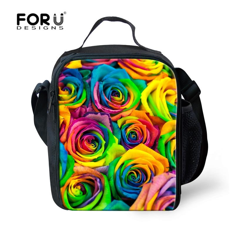 New Desingers Brand Lunch Bag For Women Fresh Flower Students Large Lunchbox Girls Kids Tourism Lancheira Portable Bolsa Termica