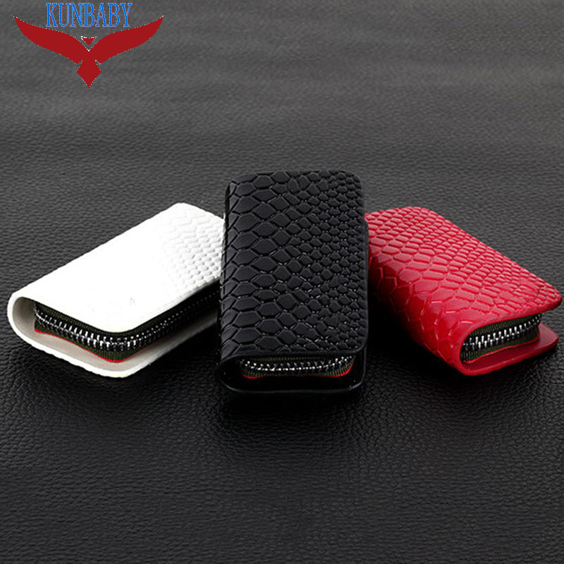 Snakeskin Genuine Leather Car Key Case Holder Key Wallet Keychain Covers Zipper Key Case Bag For Jeep VW BMW Ford and so on