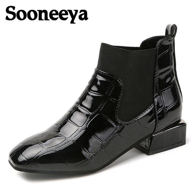 87c41d588fe US $25.68 |Sooneeya Preppy Style Square Toe Chelsea Boots Plaid Patent  Leather Flat Ankle Boots Womens Motorcycle Boots Spring Women Botas-in  Ankle ...