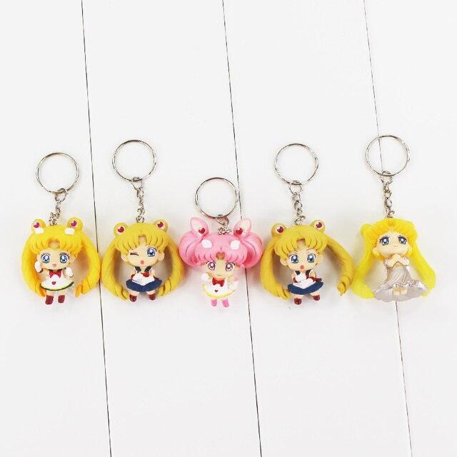 5pcs lot 5cm Sailor Moon Keychain Pendants Tsukino Usagi Sailor Figure Toys  Serenity Mini Model Keyring for Girls 56e983c1f