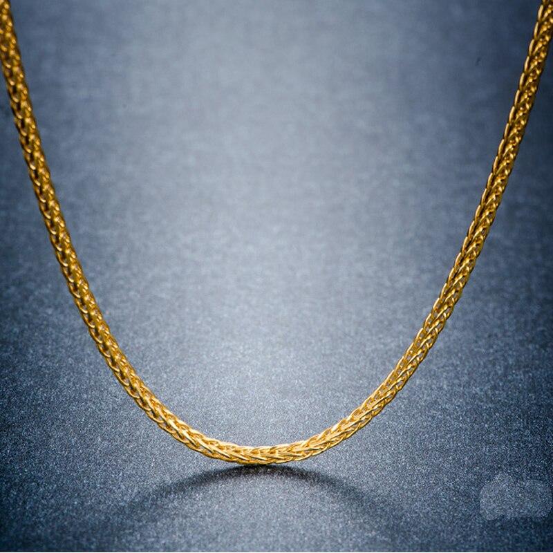 Collier en or massif AU750 chaîne collier chaîne de blé pour hommes