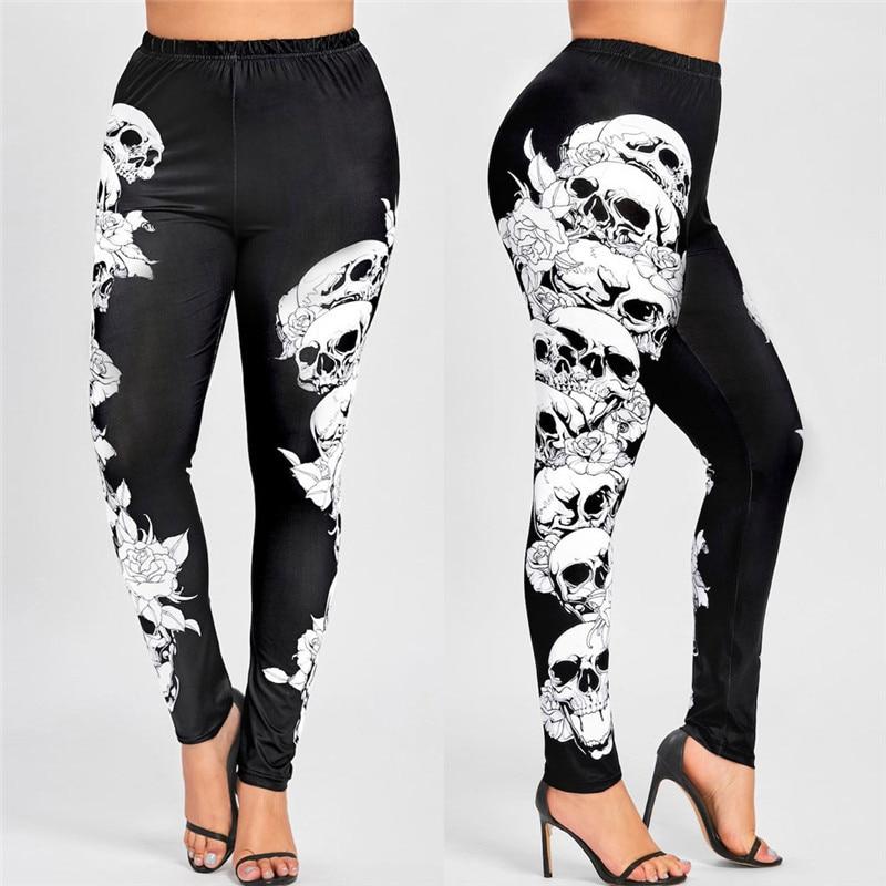 Casual Femmes Taille Haute Pantalon Plus La Taille Monochrome Crânes Leggings Exquis Polyester Cheville-Longueur de Femmes Leggings #40410
