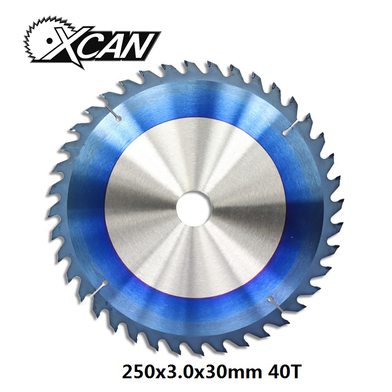 XCAN 1pc 250x3.0x30mm 40 Teeth Nano Blue Coated TCT Saw Blade Wood Cutting Discs Carbide Tipped Circular Saw Blade