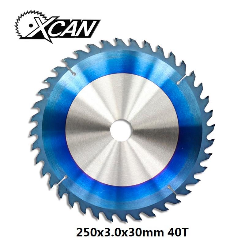 XCAN 1pc 250x3.0x30mm 40 Teeth Nano Blue Coated TCT Saw Blade Wood Cutting Discs Carbide Tipped Circular Saw Blade