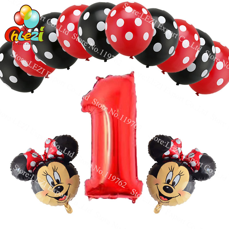 13pcs Birthday Red Number 1 2 3 Year Balloons Minnie