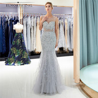 Silver Grey Mermaid Evening Dresses 2019 Robe De Soiree Arabic Sheer Prom Gowns Beading Feathers Formal Party Dress Abendkleider
