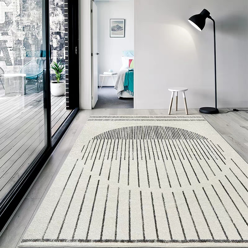 Simple style beige blanc salon tapis, grande taille géométrique de chevet tapis, Nordique tapis de sol décoratif, bureau tapis