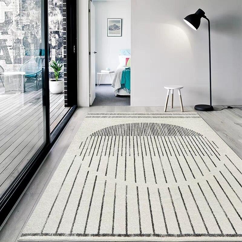 Stile semplice beige bianco soggiorno tappeto, big size geometrica comodino tappeto, Nordic decorativo pavimento stuoia, ufficio tappeto