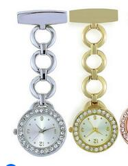Fashion Full Crystal Dial Steel Nurses Pin  Brooch Hanging Round Pocket Watch Men And Women's Clock Gift