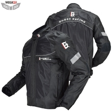 GHOST RACING Motorcycle Jacket Men Moto Motocross Jacket Moto Protective Gear Breathable Mesh Reflective Jacket