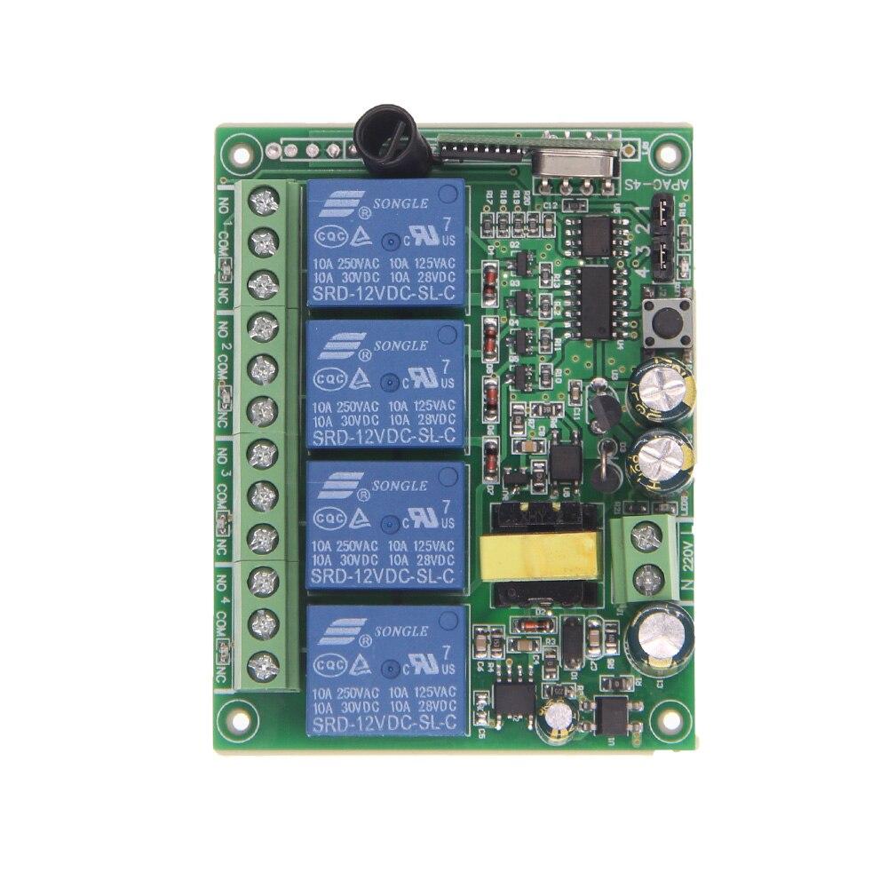 AC 220V 10A 4 CH 4CH RF Wireless Remote Control Switch System Receiver,315 / 433.92 MHz high quality dc24v rf wireless remote control switch 4ch 10a 1pcs receiver