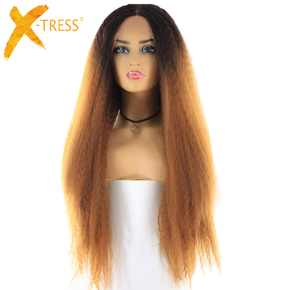 X-TRESS Lace Wigs Synthetic-Hair Brown Kinky Straight Ombre Natural-Hairline Color 26inch