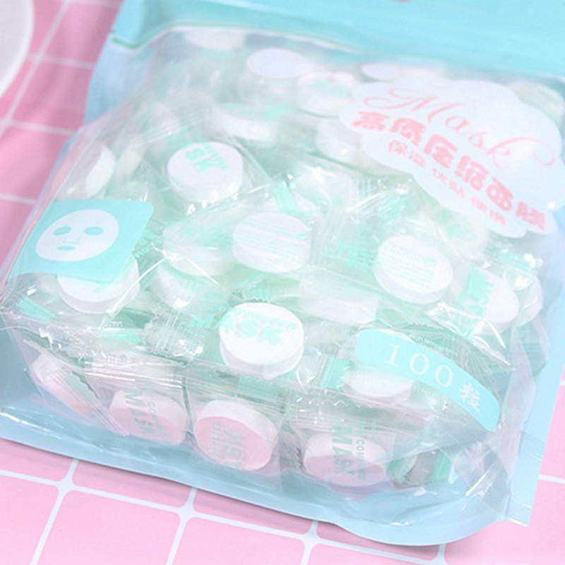 2019 100PCS/Set Women Girls Facial Cotton Compressed Mask Disposable Wrapped Masks Sheets Tablets for DIY Skin Care Pakistan