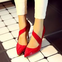 Fashion Genuine Leather Thin High Heels font b Women b font Pumps Sexy Pointed Toe Buckle