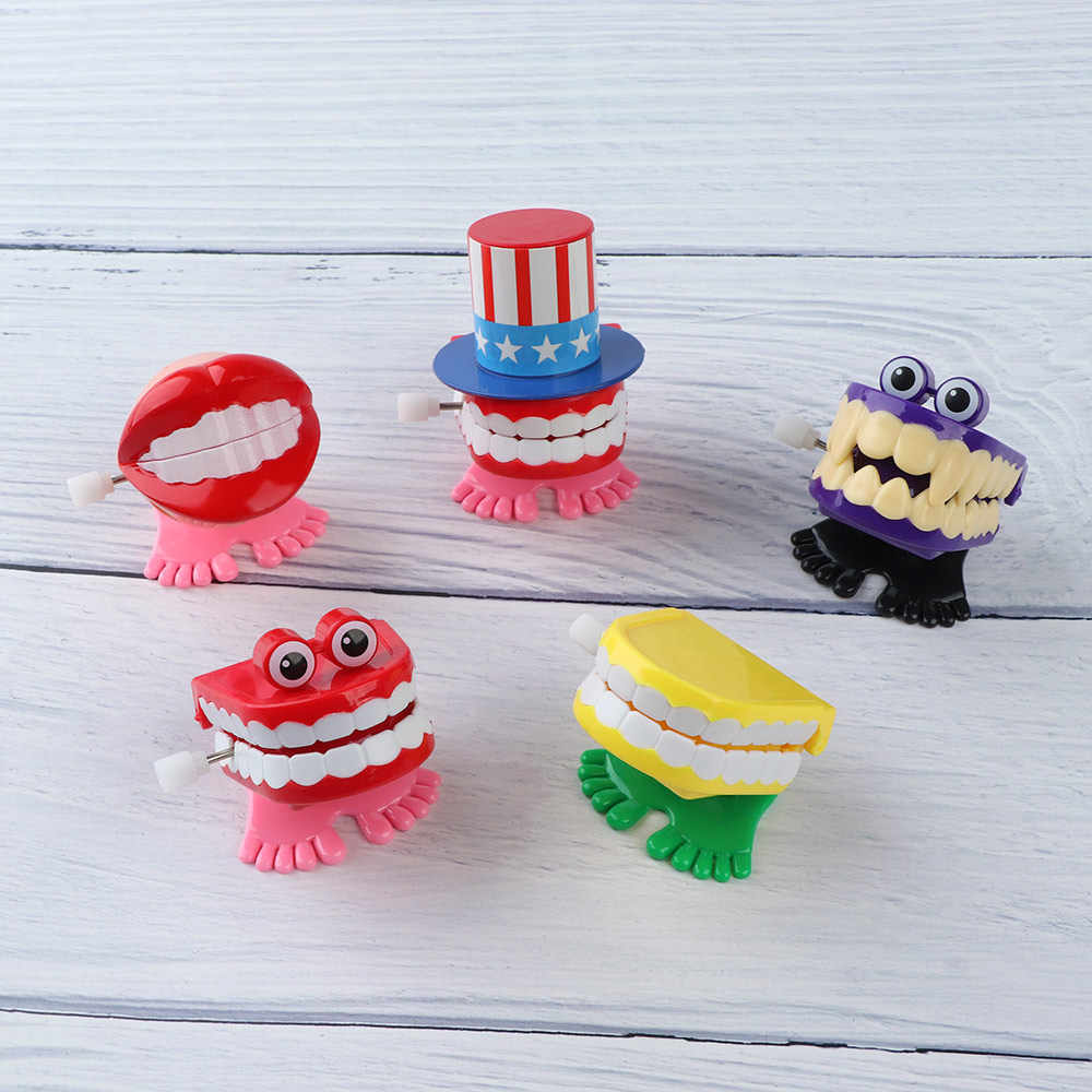 1Pcs Funny Chattering Jumping Walking Teeth Shape Clockwork Toy Mini Children Christmas Animal Tooth Toys Gifts Wind Up Toys