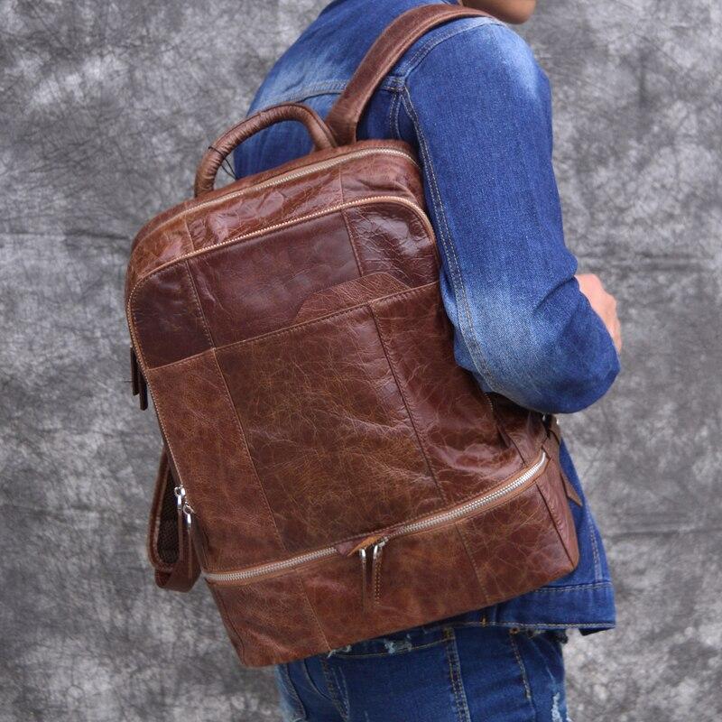 Schicht Casual Herren Wachs Computer Tasche Öl Flut Rucksack Retro Reisetasche 1 Aetoo Leder Top f0wg18q