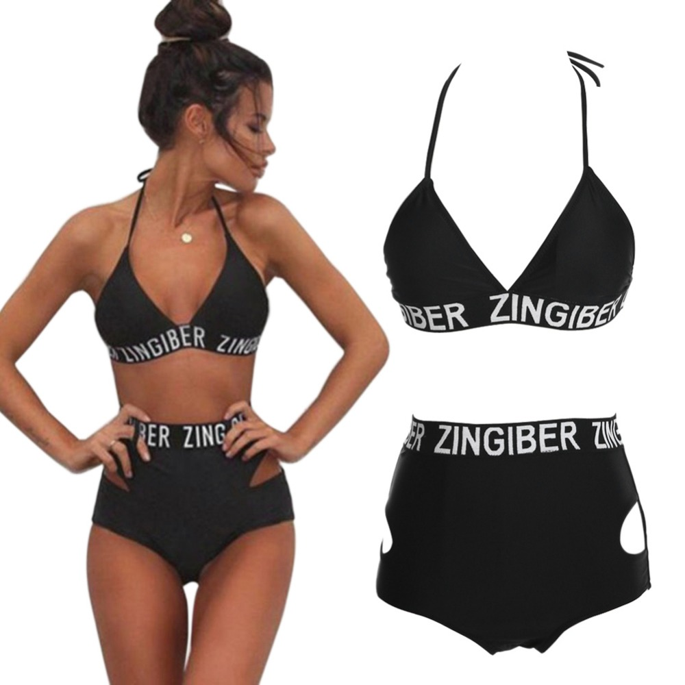 2017 Sexy Black Women Bandage Bikini Set Push-up Padded Swimsuit Cut Out High Waist Bathing Suit Swimwear Beach Wear ISP maheu 2017 sexy high neck halter thong bikini set push up women bandage hollow swimsuit swimwear female cut out bathing suit