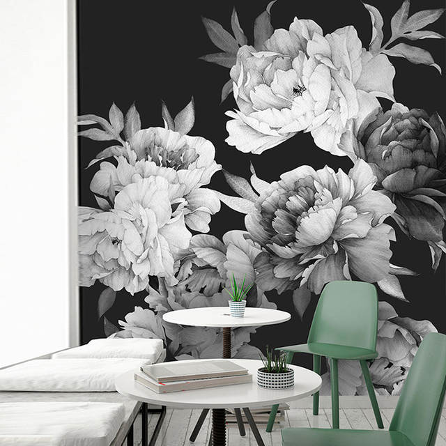Online Shop Peony Wallpaper Removable Floral Watercolor Sticker Black And White Modern Home Decor Diy Art Wall Decorations Living Room Mural