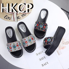 HKCP sandals for women in spring/summer wear Korean diamond slippers with thick bottom and high heel C116