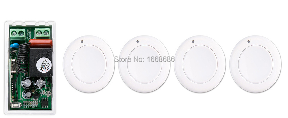 most simple wiring New AC 220 V 1CH Wireless Remote Control Switch System Receiver & 4*White wall Panel Sticky Remote new restaurant equipment wireless buzzer calling system 25pcs table bell with 4 waiter pager receiver