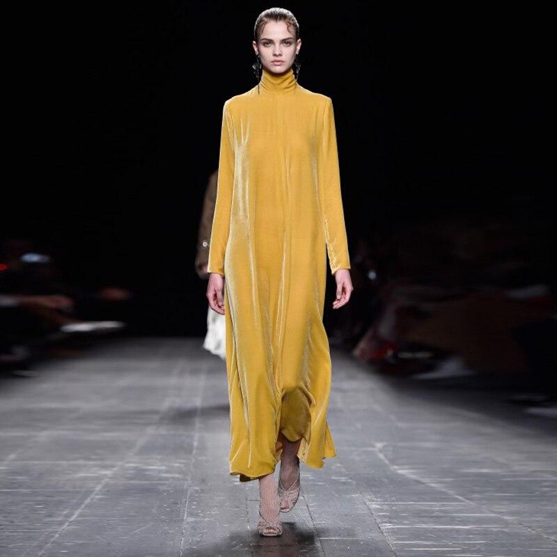 2018 haut à la mode nouvelle ligne a Vestido Longo Ukraine robe femme robe rétro col haut couleur unie velours grande taille col Long