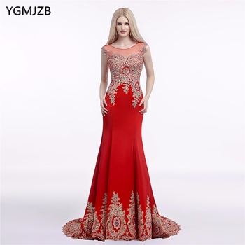 Red Royal Blue Sexy Long Prom Dress 2018 Mermaid Sheer Back Gold Lace Appliques Formal Party Gowns Evening Dresses Vestidos