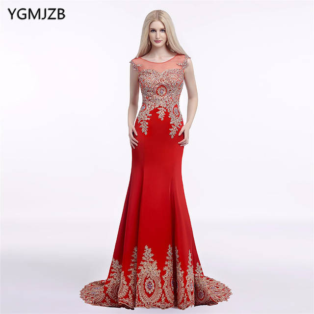 Online Shop Red Royal Blue Sexy Long Prom Dress 2018 Mermaid Sheer Back  Gold Lace Appliques Formal Party Gowns Evening Dresses Vestidos  015ad999a1e2