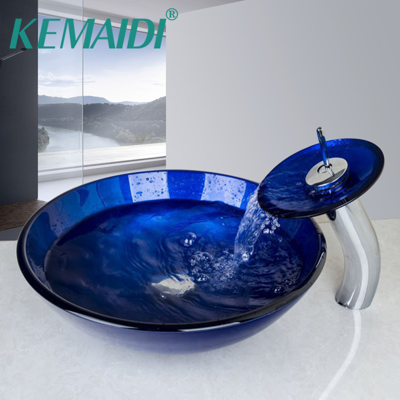 KEMAIDI Glass Basin sink Set Bathroom Washbasin Sink & Polished Faucet Mixer Tap Round Art Ravine Style Navy Blue Tempered Sink недорго, оригинальная цена