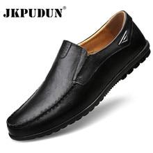 Мужская повседневная обувь; Роскошные Брендовые мужские лоферы из натуральной кожи; мокасины; удобная дышащая обувь для вождения без шнуровки; размера плюс; JKPUDUN