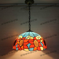 Vintage Creative Colorful Tiffany Glass Sunflower Led E27 Pendant Light For Dining Room Restaurant Bar Hanging
