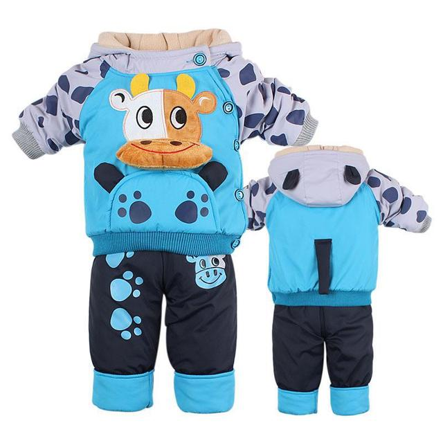 New Children's Clothing Baby Autumn And Winter Suit Thickening Cartoon Kids Clothes Boys And Girls Clothing Sets