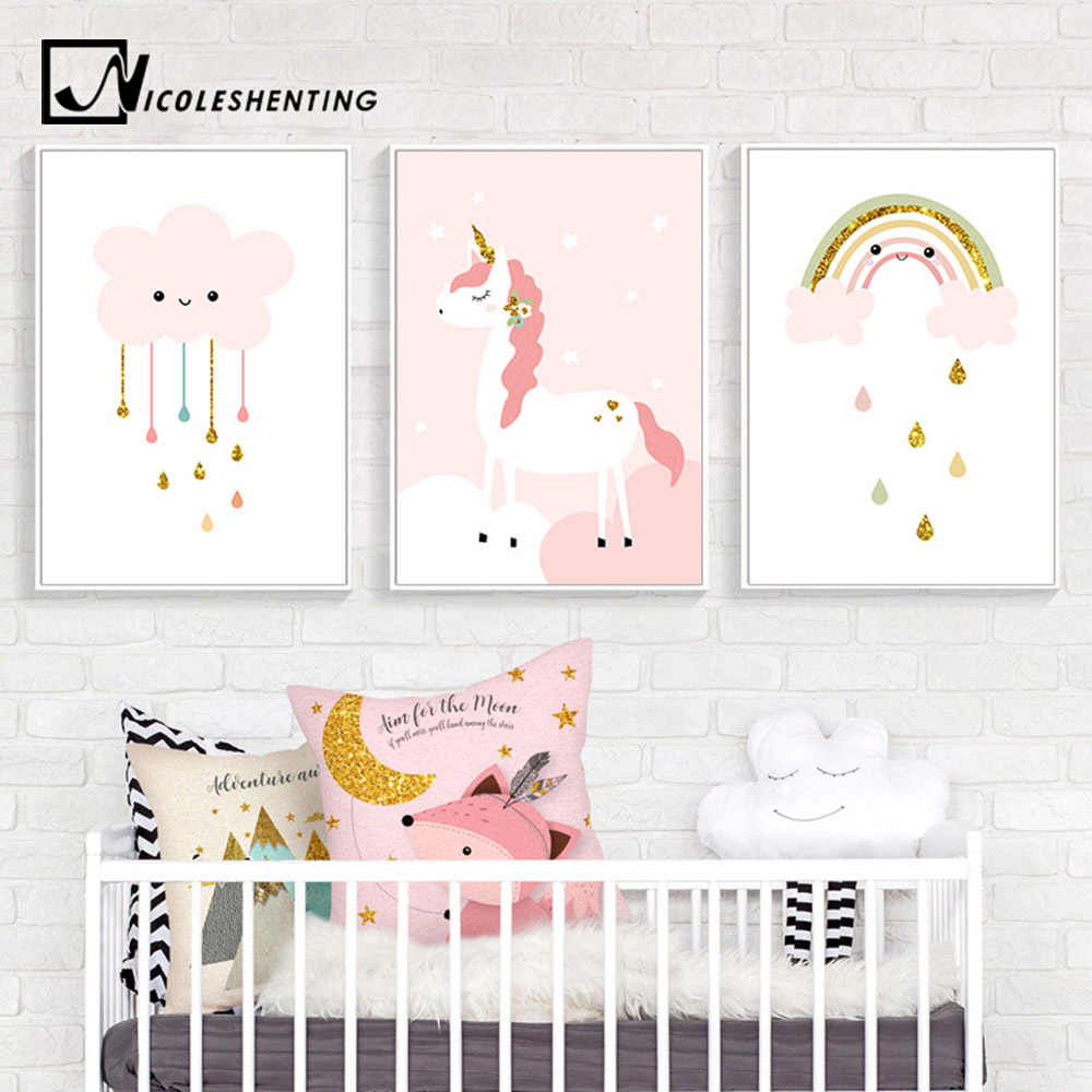 80c4a83f60933 Baby Girl Nursery Wall Art Canvas Print Pink Cartoon Poster Painting Simple  Nordic Kid Decoration Picture Children Bedroom Decor