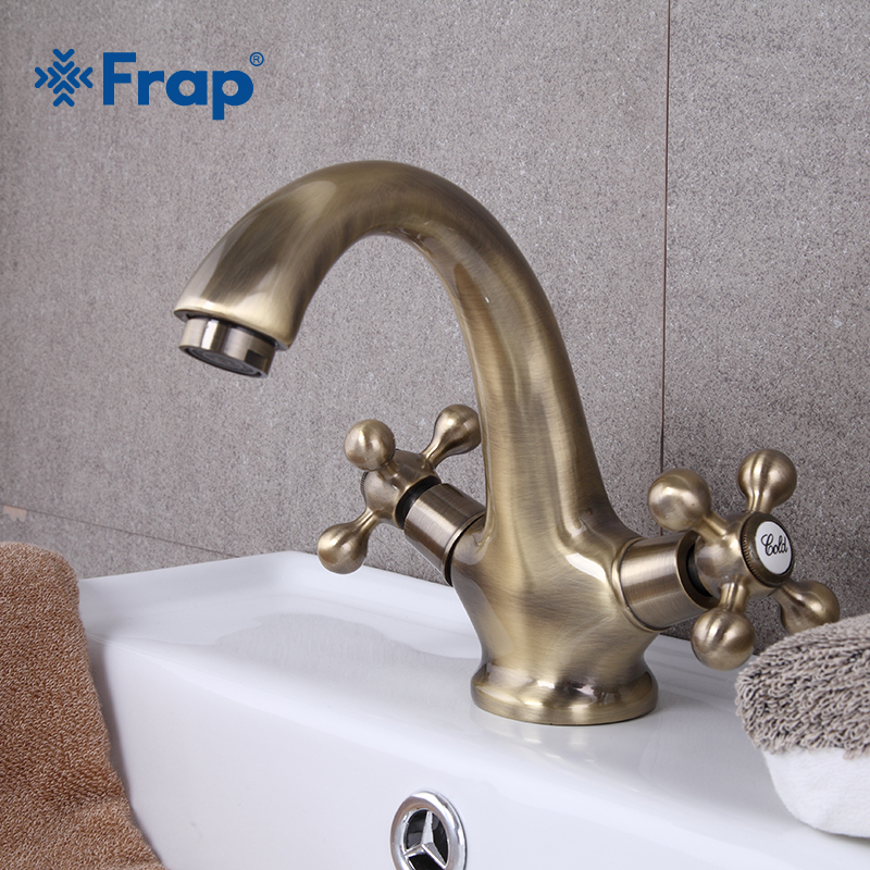 Frap Retro Style Antique Bathroom Faucet Bronze Brushed Sink Hot And Cold Water Tap Bath Basin Sink Mixer Double Handle F1019-4