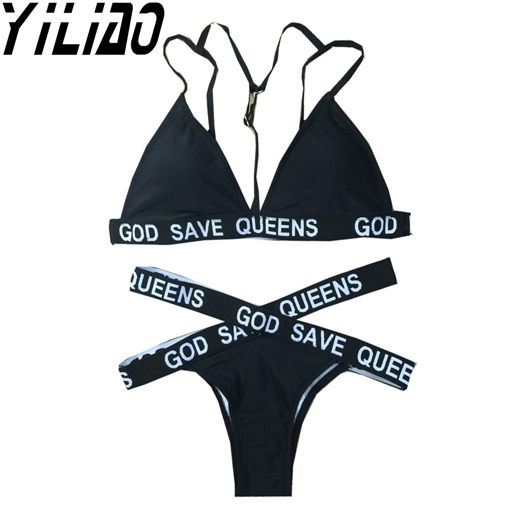 2017 Women Sexy Letter Print Bikini Set God Save Queen Banadge Thong Push Up Swimsuit Banadge Swimwear Monokini Bathing Suit save the queen ohdd повседневные брюки