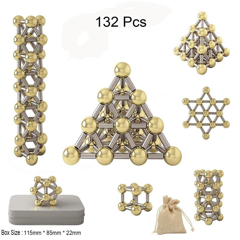 New 132pcs Magnetic Construction Set Toys,Magnetic Stick & Gold Plating Balls Building Blocks Fidget Toys, 3D Metal Puzzle Toys.