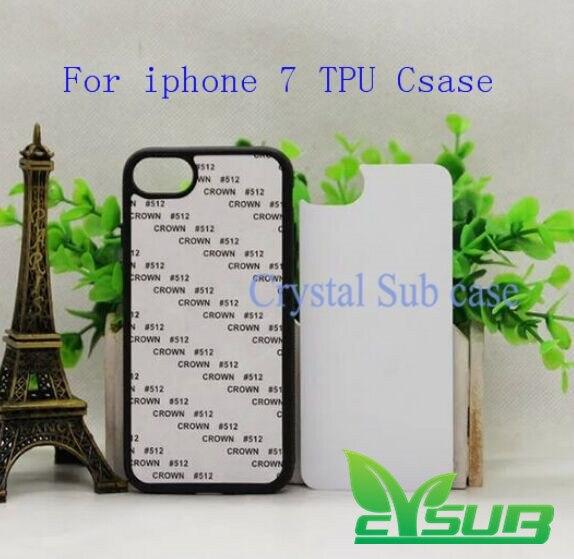 imágenes para 2d en blanco sublimación cubierta de tpu + pc phone case para iphone 7 con placas y pegamento 100 unids