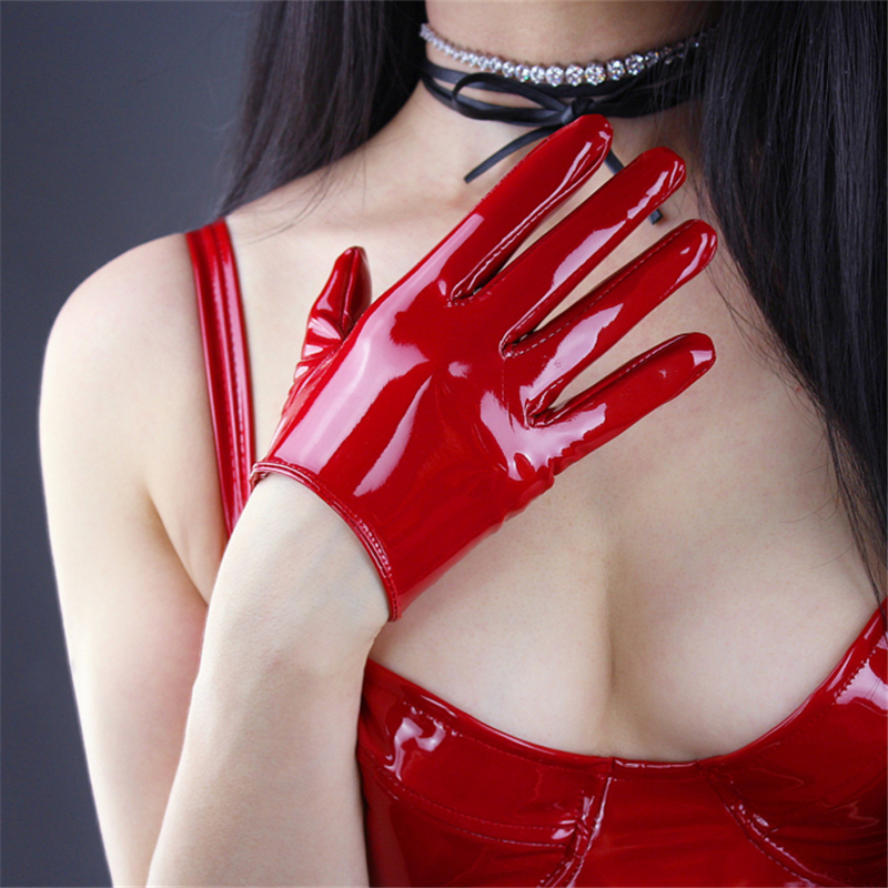 2020 NEW Fashion Patent Leather Gloves Sexy Bright Red PU Gloves Female Unlined Synthetic Leather Women Mittens Cosplay P15