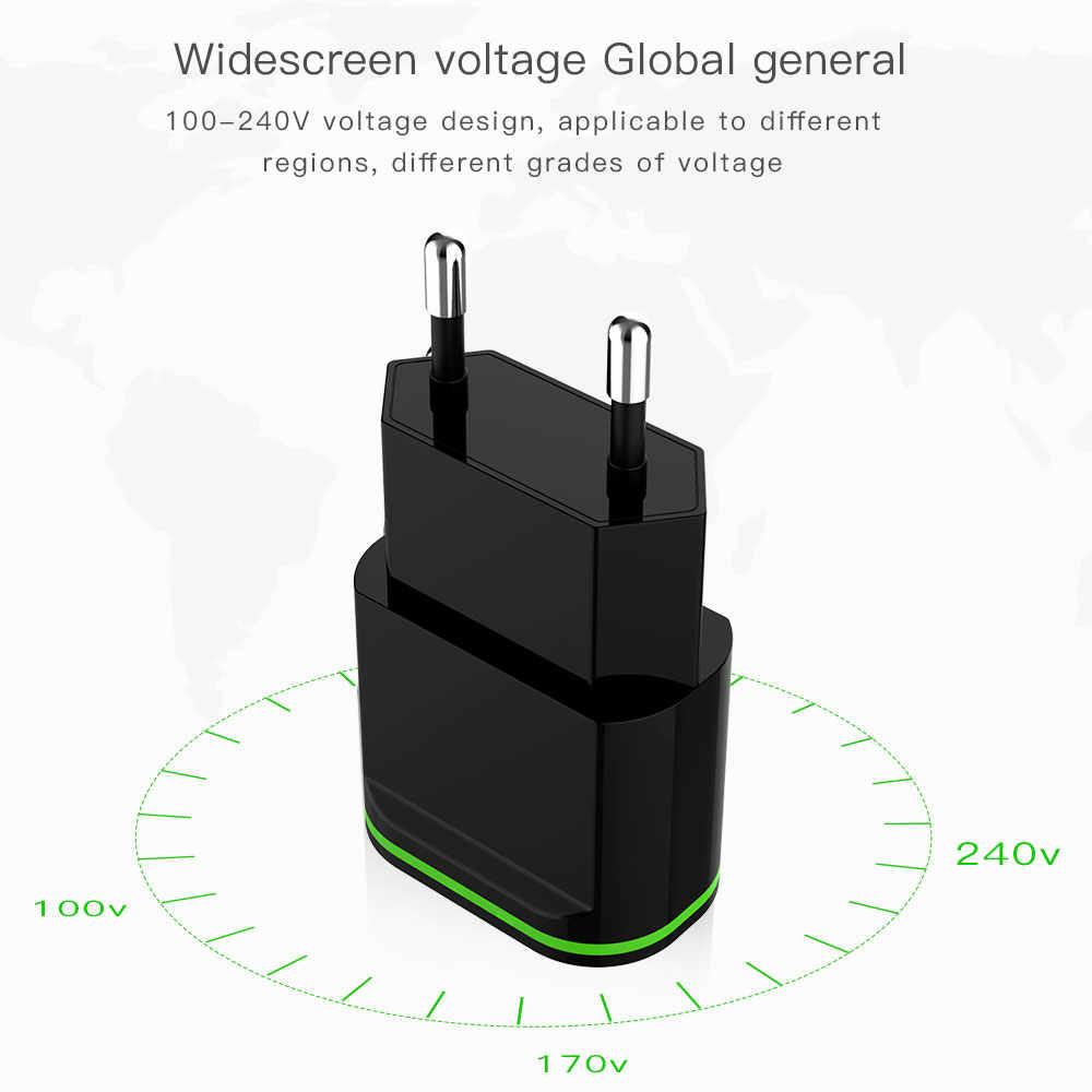 5 فولت 2a الاتحاد الأوروبي التوصيل led ضوء 2 usb الجدار شاحن محول الهاتف المحمول جهاز مايكرو بيانات للآيفون 5 6 7 8 ل باد سامسونج