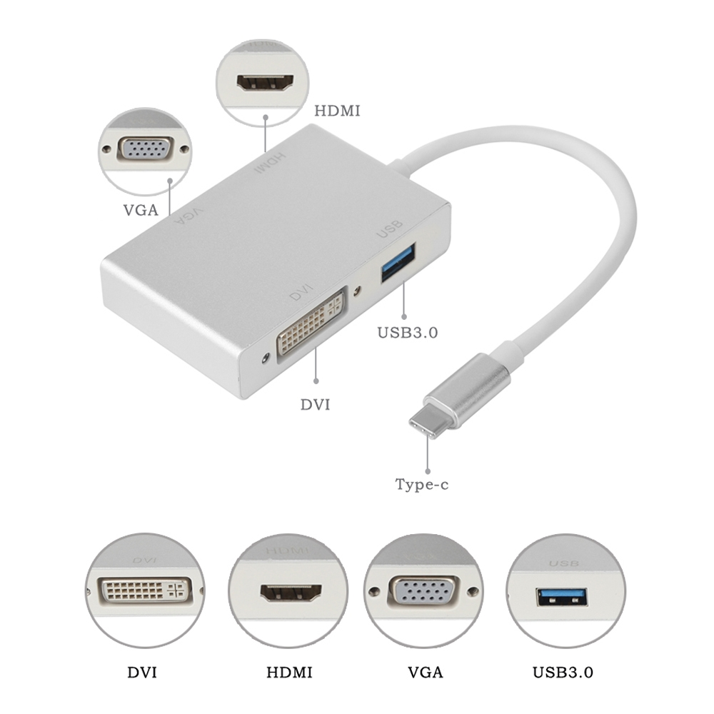 4 In 1 USB 3.1 Type C to DVI VGA HDMI USB3.0 Adapter Converter Cable for MacBook