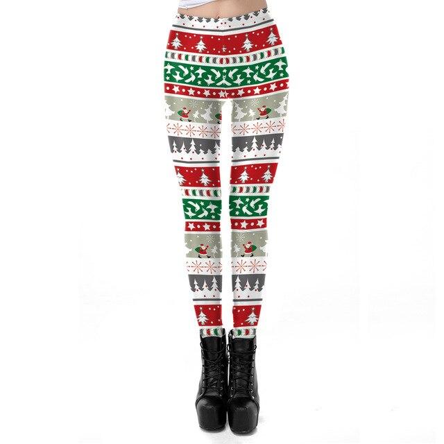 2018 Christmas Tree Bell 3D Printed Slim Fitness Leggings Women LegginsHigh Waist Push Up Legging Autumn Winter Leggins Mujer