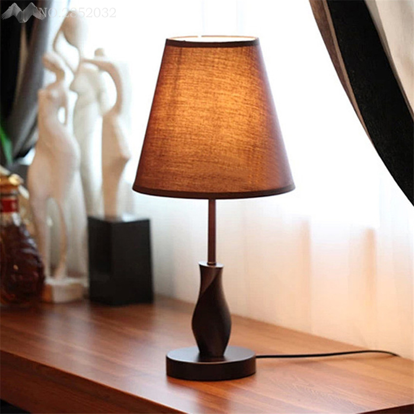 Modern Bedside Wood Table Lamps Wooden Base For Living Room Bedroom Home  Decor Study Small Desk Lamp Luminaria Lamparas In Table Lamps From Lights  ... Part 96
