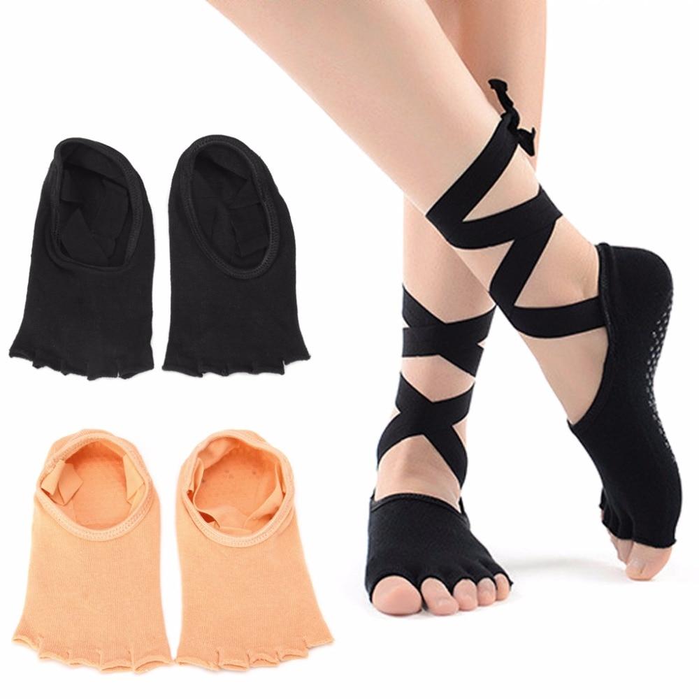 1 Pair Women Sport Yoga 5 Toes Socks Exercise Massage Cotton Pilates Anti-slip Sock