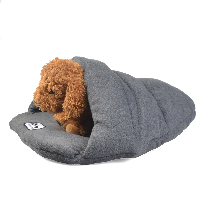Us 14 25 Cute Slipper Design Soft Fleece Winter Warm Pet Dog Bed Small Cat Sleeping Bag Puppy Cave Beds Very For In Houses Kennels